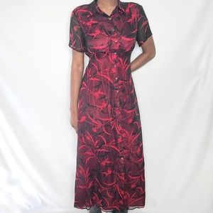 Robbie Bee Vintage Red and Black Maxi Dress